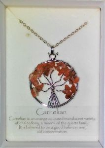 Tree of Life Gemstone Pendant - Carnelian